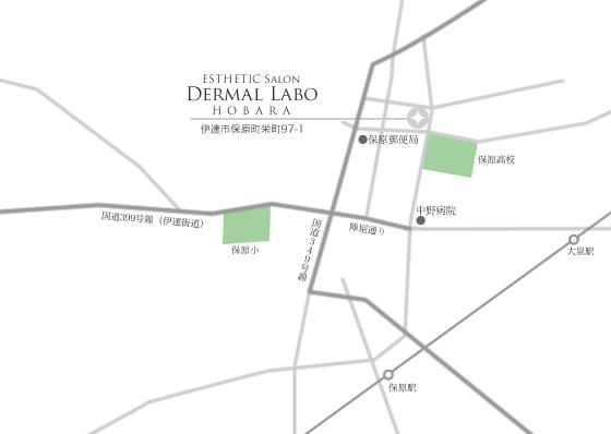 メディカルサロン ダーマルラボ 保原店へのアクセス地図